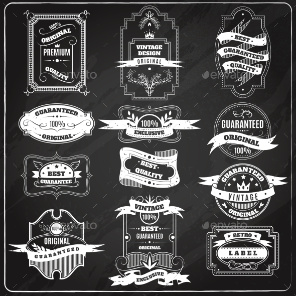 GraphicRiver Retro Emblems Set Chalk Blackboard 11284803