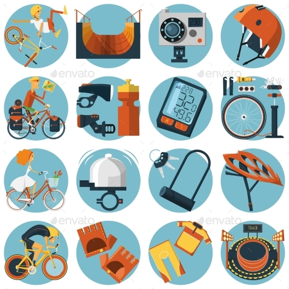 GraphicRiver Cycling Flat Round Icons Set 11284815