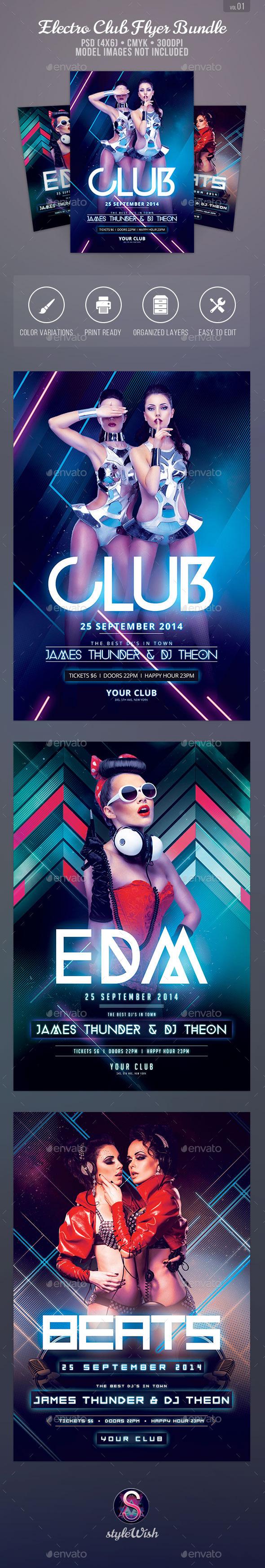 Electro Club Flyer Bundle - Clubs & Parties Events