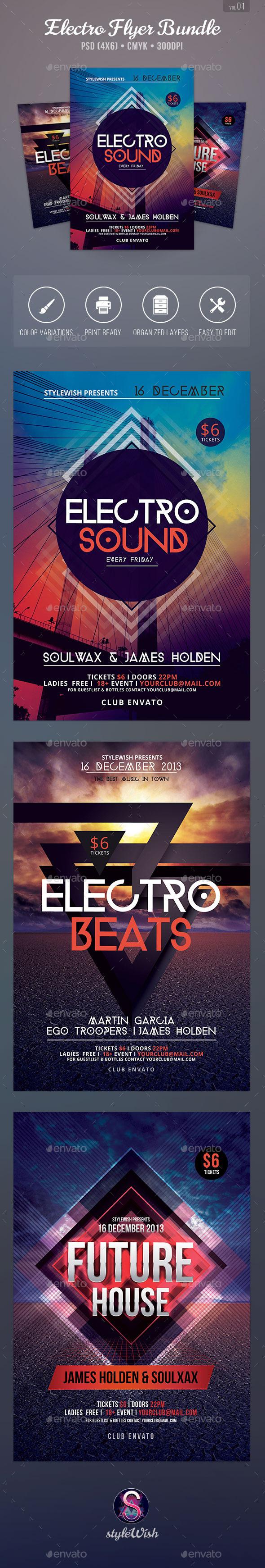 Electro Party Flyer Bundle Vol2 - Clubs & Parties Events