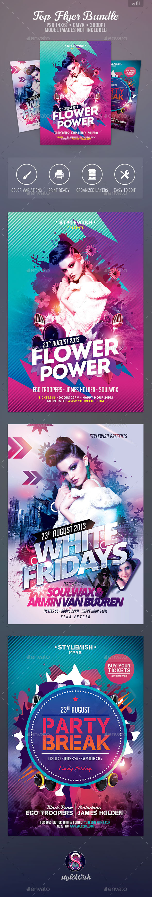 Top Party Flyer Bundle - Clubs & Parties Events