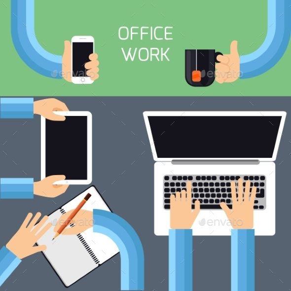 GraphicRiver Businessman Hands With Different Office Activities 11284934