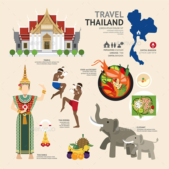 GraphicRiver Travel Concept Thailand Landmark Flat Icons Design 11284978