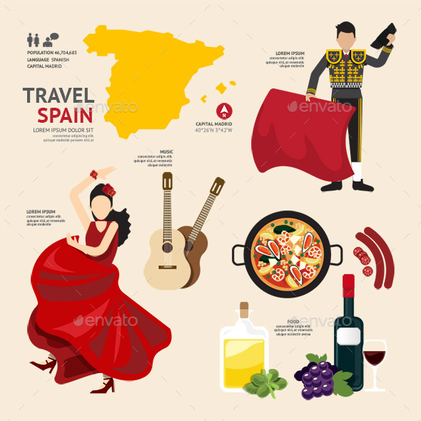 GraphicRiver Travel Concept Spain Landmark Flat Icons Design 11285001