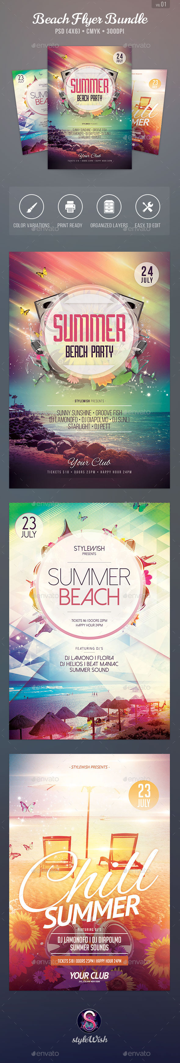 Summer Beach Flyer Bundle Vol.01 - Clubs & Parties Events