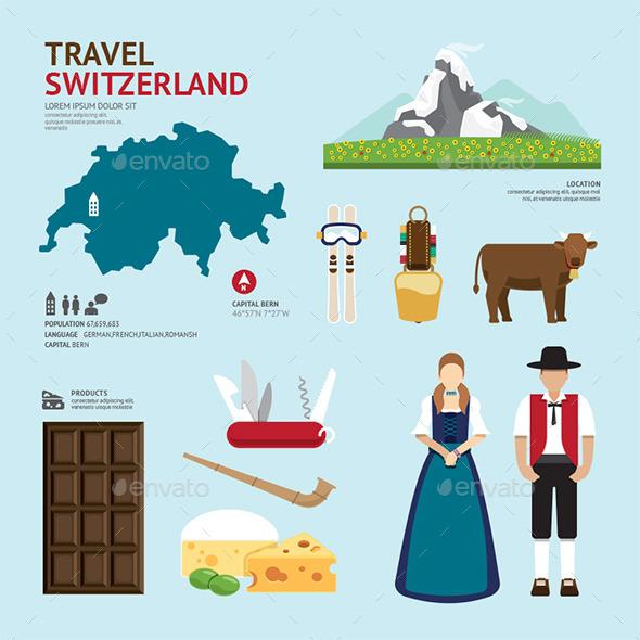 GraphicRiver Travel Concept Switzerland Landmark Flat Icons 11285032