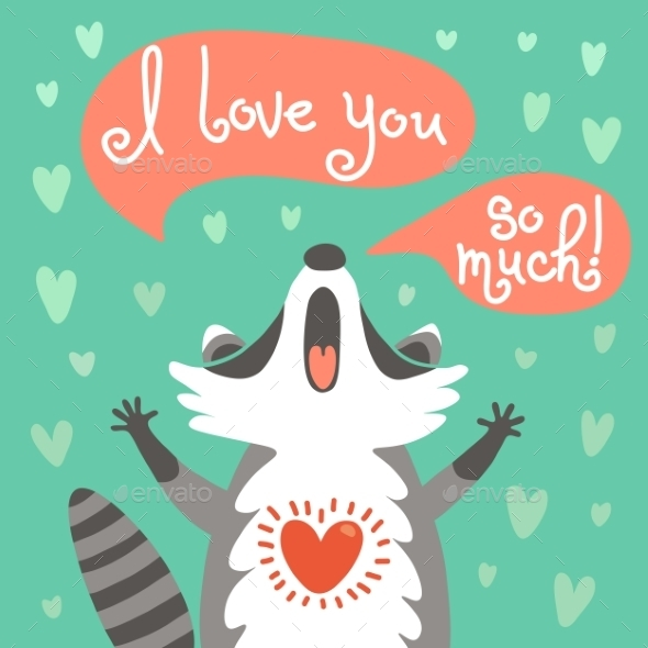 GraphicRiver Cute Raccoon Confesses His Love 11285081