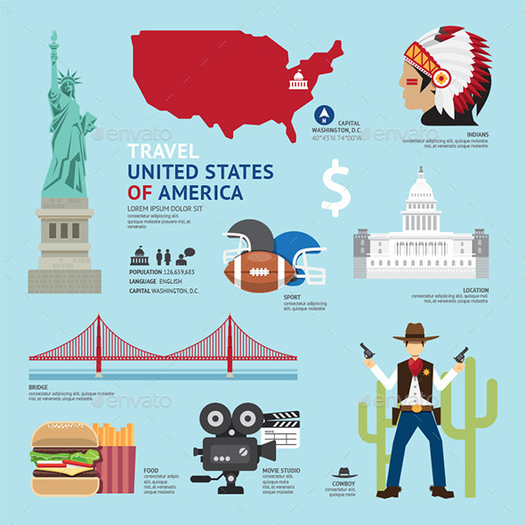 GraphicRiver Travel Concept USA Landmark Flat Icons Design 11285095