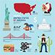 Travel Concept USA Landmark Flat Icons Design  - GraphicRiver Item for Sale