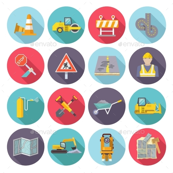 GraphicRiver Road Worker Flat Icons 11285190