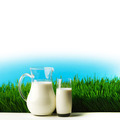 Glass of milk and jar on flower meadow - PhotoDune Item for Sale
