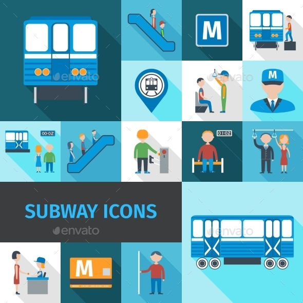 GraphicRiver Subway Icons Flat 11285395