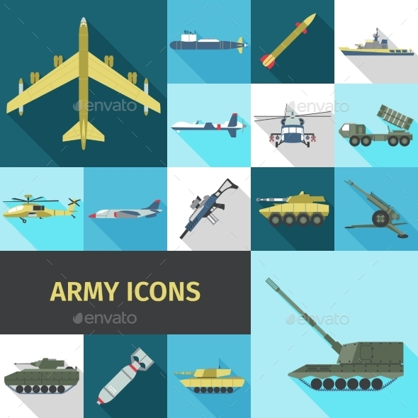 GraphicRiver Army Icons Flat 11285398