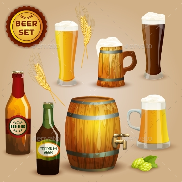 GraphicRiver Beer Icons Composition Set Poster 11285450