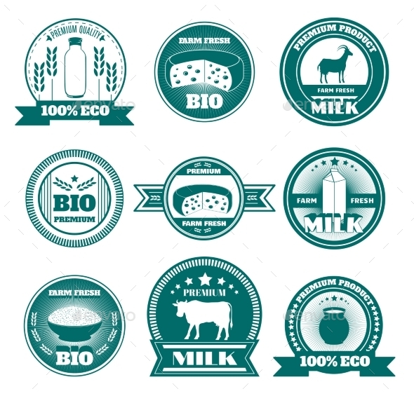GraphicRiver Eco Farm Milk Dairy Products Emblems 11285459