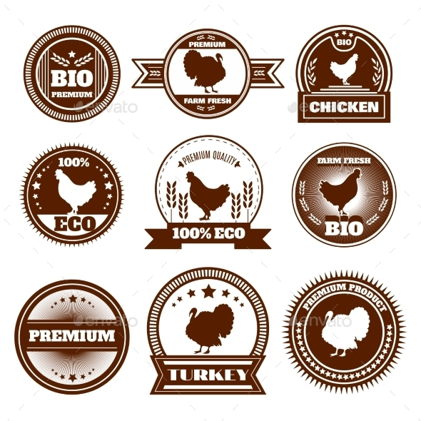 GraphicRiver Eco Farm Chicken Turkey Emblems 11285468