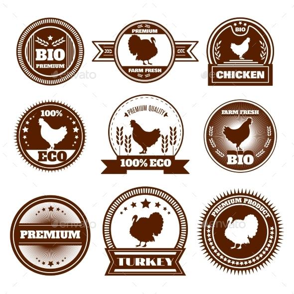 GraphicRiver Eco Farm Chicken Turkey Emblems 11285468