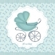 Pram On An Abstract Background In Child Blue - GraphicRiver Item for Sale