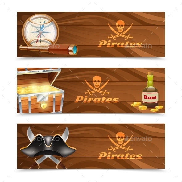 GraphicRiver Three Horizontal Pirate Banners 11285516