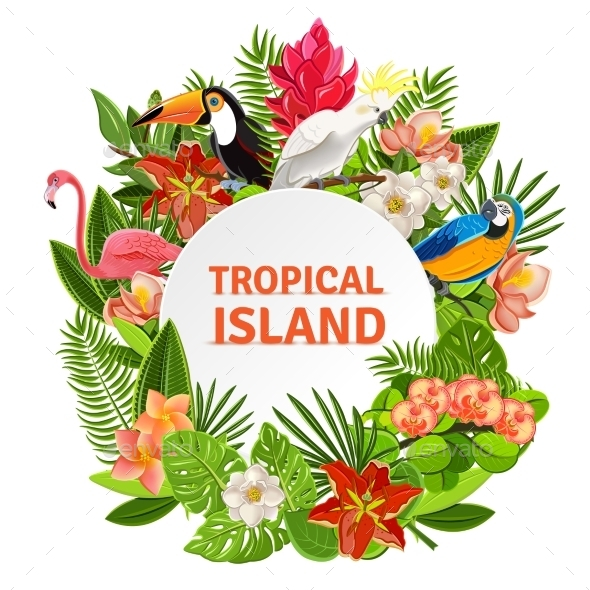 GraphicRiver Tropical Birs And Flowers 11285582