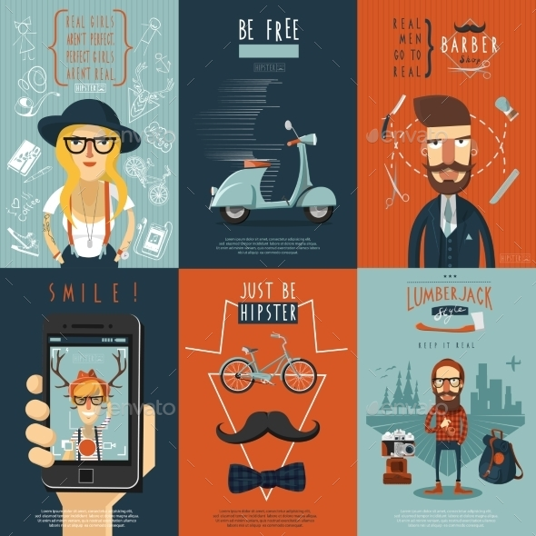 GraphicRiver Hipster Flat Icons Composition Poster 11285590