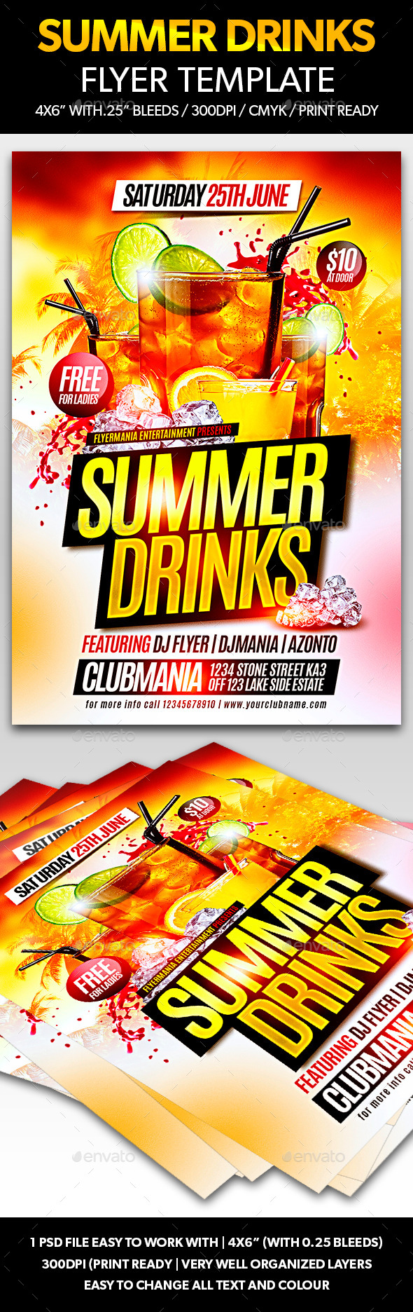 GraphicRiver Summer Drinks Flyer Template 11285918