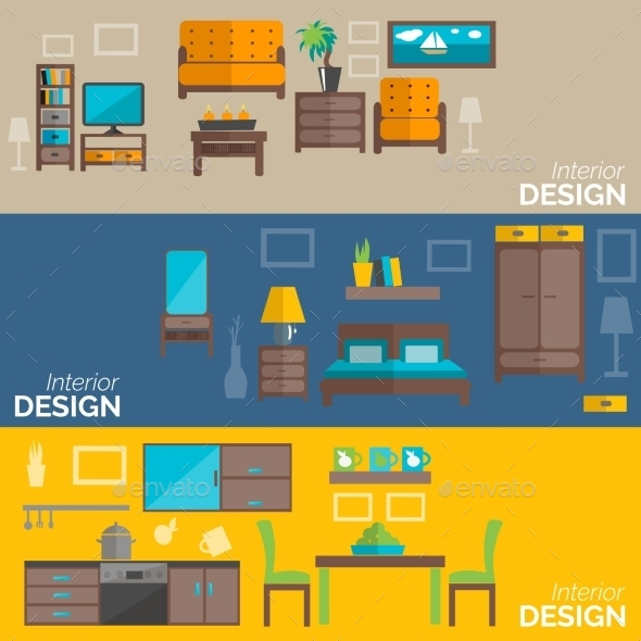 GraphicRiver Home Furniture Design Flat Banners Set 11285931