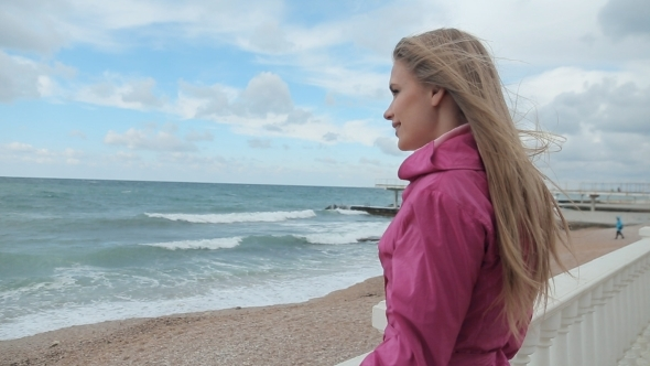 Romantic Girl Dreaming At Sea Coast