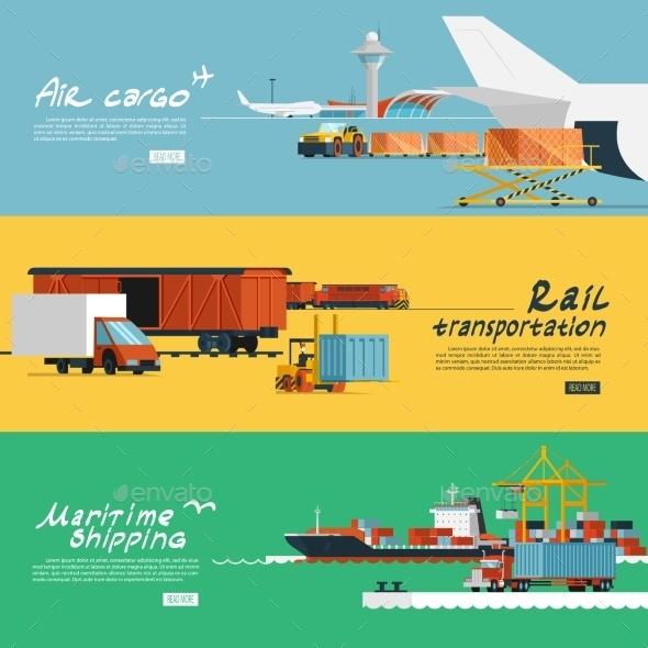 GraphicRiver Logistics Flat Horizontal Banners Set 11286180