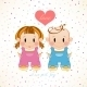 A Couple In Love. Girl And Boy With Heart. - GraphicRiver Item for Sale