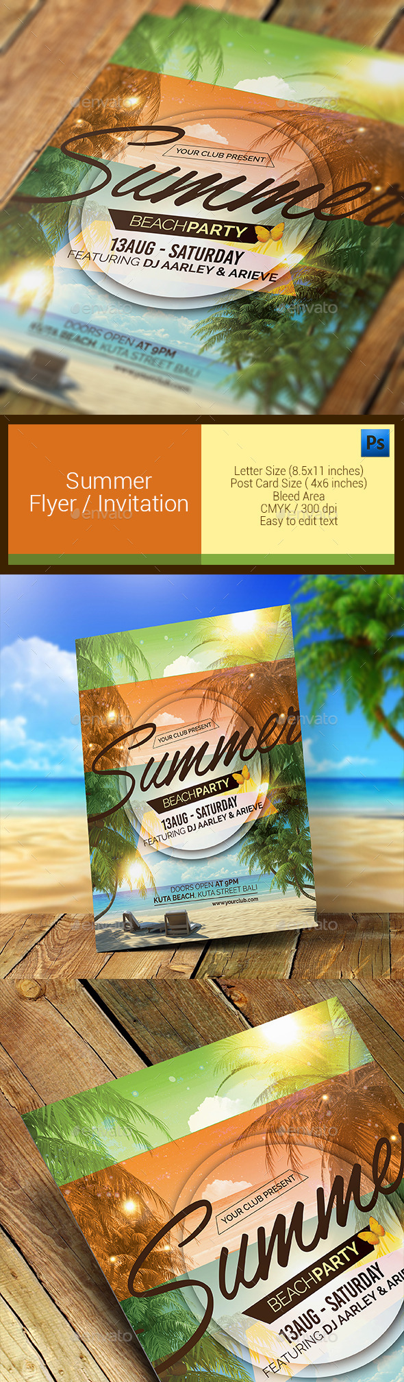 GraphicRiver Summer Party Flyer Invitation 11286637