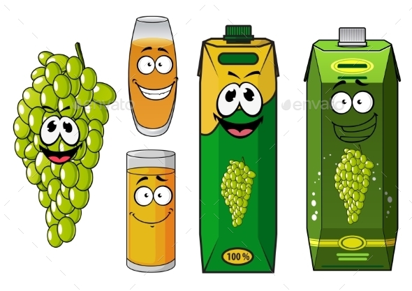 Funny Natural Green Grape Fruit And Juice Cartoon