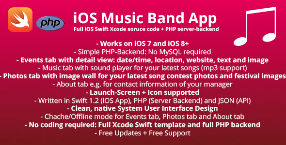 CodeCanyon Music Band iOS App Swift-Template & PHP-Backend 11237972