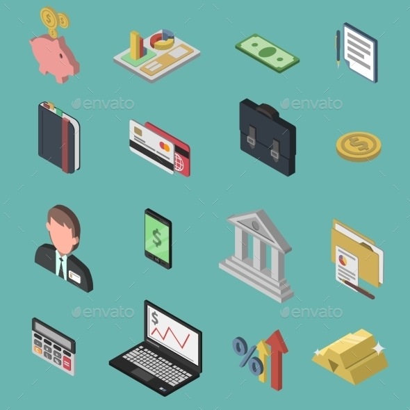 GraphicRiver Bank Isometric Icon Set 11286830