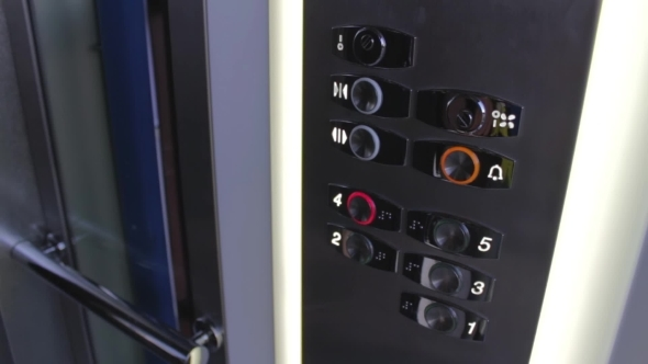 Clicking On The Button In An Elevator And Lift