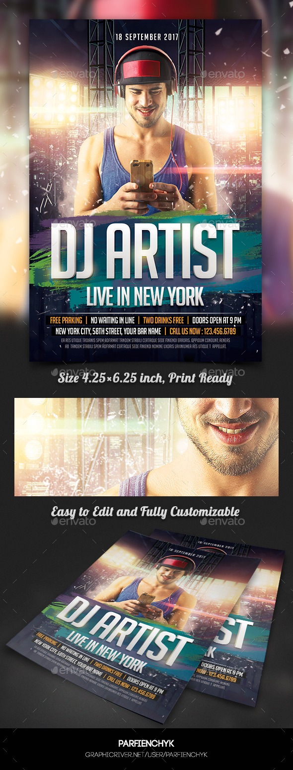 GraphicRiver Music DJ Artist Flyer Template 11288331