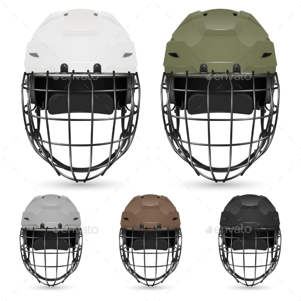 GraphicRiver Set of Goalkeeper Hockey Helmets 11289763
