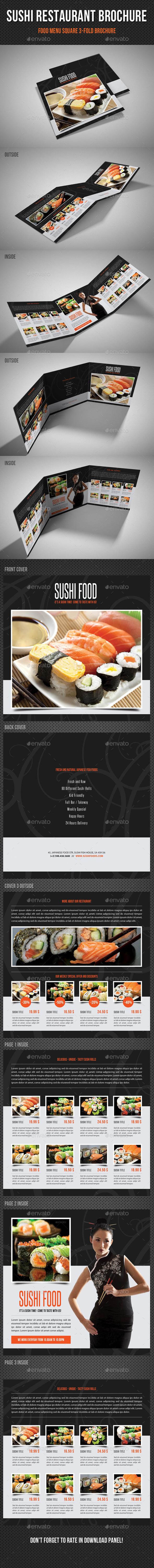 GraphicRiver Sushi Restaurant Menu Square 3-Fold Brochure 01 11290132