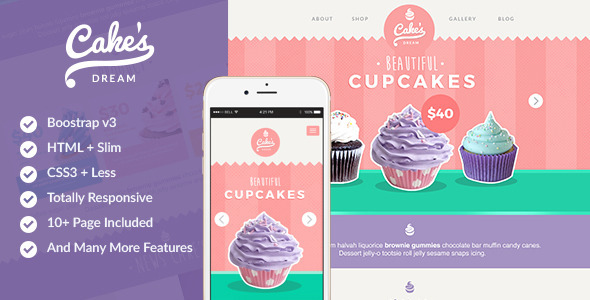 ThemeForest Cake s Dream Responsive Cake Shop Template 11290285
