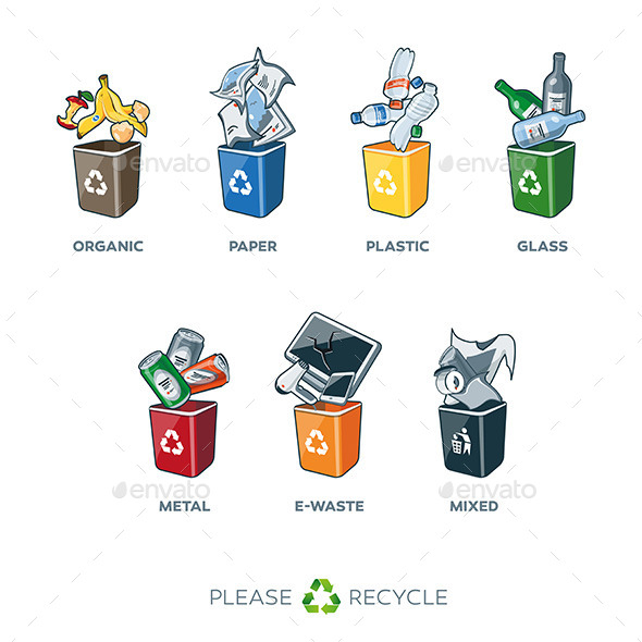 GraphicRiver Trash and Recycle Segregation Bins 11290372