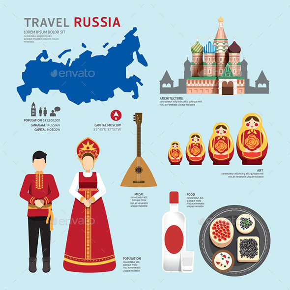 GraphicRiver Travel Concept Russia Landmark Flat Icons Design 11290548