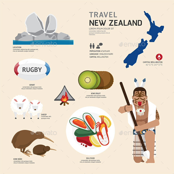 GraphicRiver Travel Concept New Zealand Landmark Flat Icons 11290743