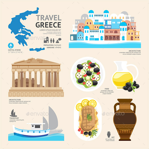 GraphicRiver Travel Concept Greece Landmark Flat Icons Design 11290954