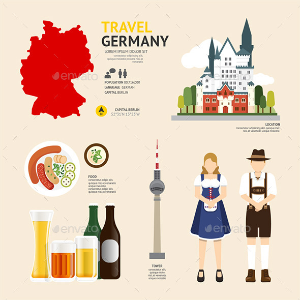GraphicRiver Travel Concept Germany Landmark Flat Icons 11291096