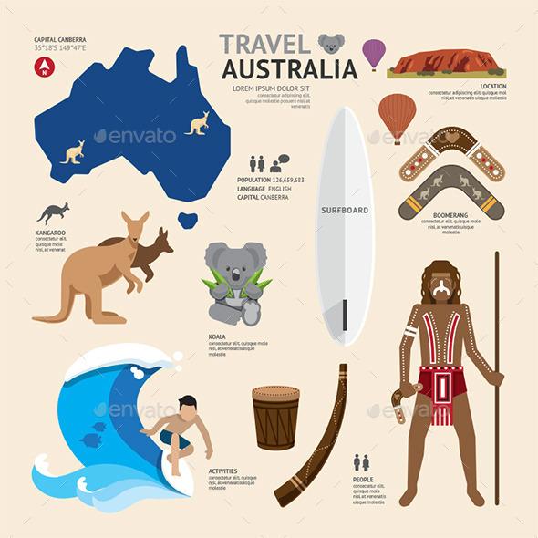 GraphicRiver Travel Concept Australia Landmark Flat Icons 11291481