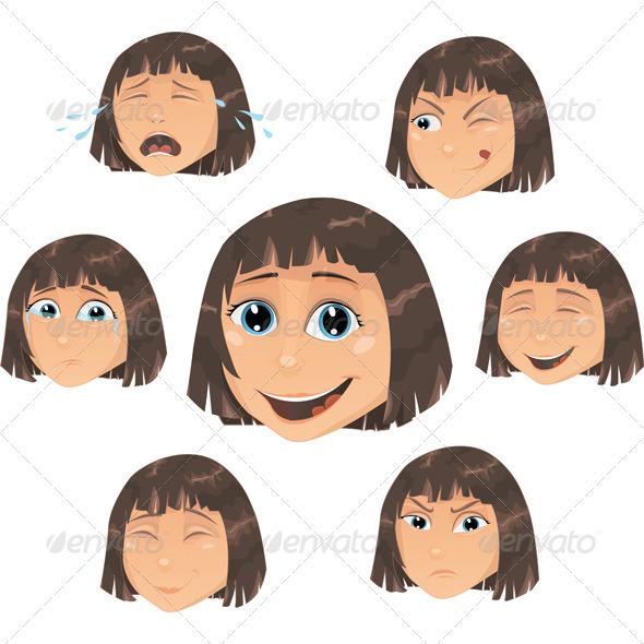 Vector girl - facial expressions - Characters Vectors