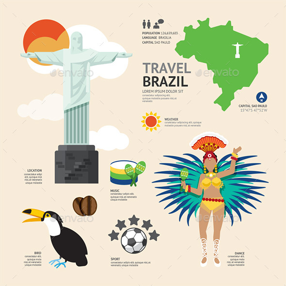 GraphicRiver Travel Concept Brazil Landmark Flat Icons 11291624