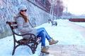 Brunette Girl Posing on Snow 1 - PhotoDune Item for Sale