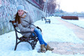 Brunette Girl Posing on Snow 2 - PhotoDune Item for Sale