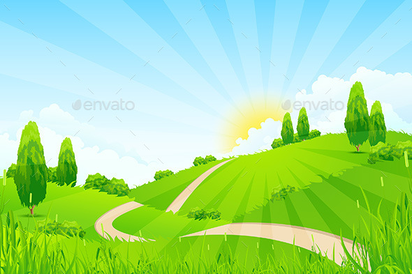 GraphicRiver Green Landscape with Trees and Road 11291767